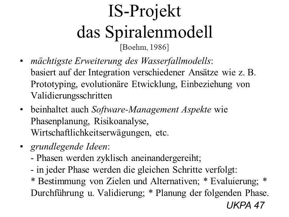 IS-Projekt das Spiralenmodell [Boehm, 1986]